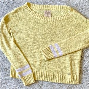 Light Yellow Scoop Neck Arm Striped Sweater